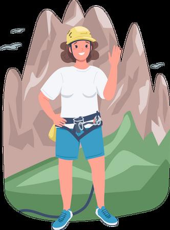 Woman mountaineer Illustration
