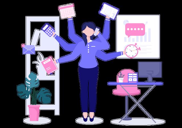 Woman Multitasking Illustration