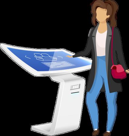 Woman near electronic signage panel Illustration