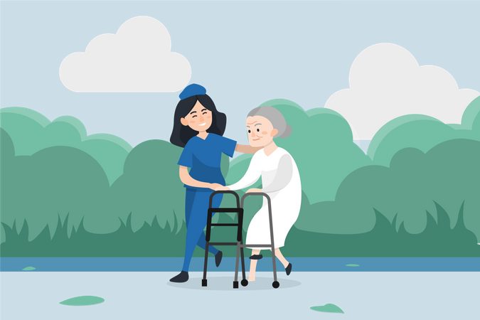 Woman nurse helping and caring old aged woman in walking Illustration
