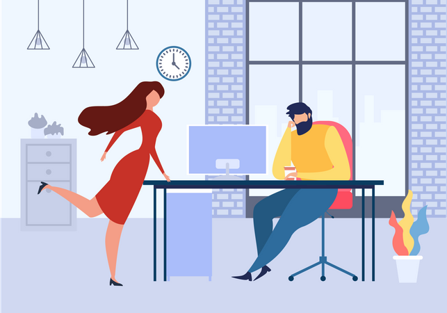Woman Office Table Flirt with Man at Work Illustration