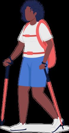 Woman on Nordic walk Illustration