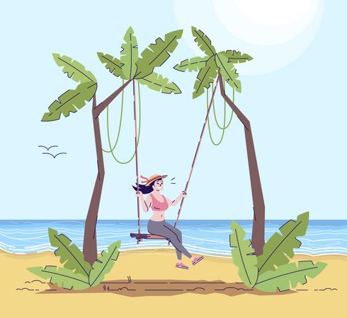 Woman on swing Illustration