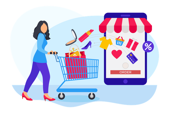 Woman ordering items from cart in online shopping website Illustration