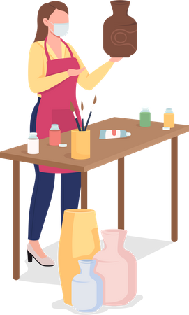 Woman painting clay vase Illustration