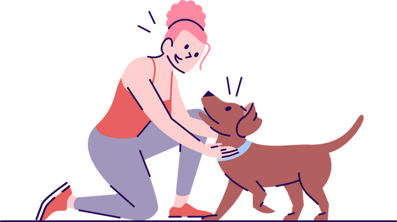 Woman pampering dog Illustration