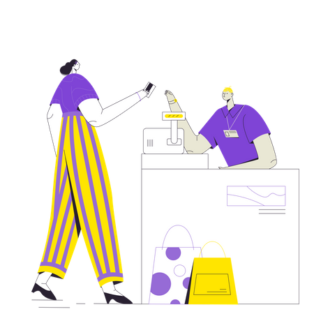 Woman paying with card at bill counter Illustration