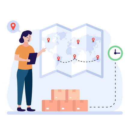 Woman placing shipment locations on a map Illustration
