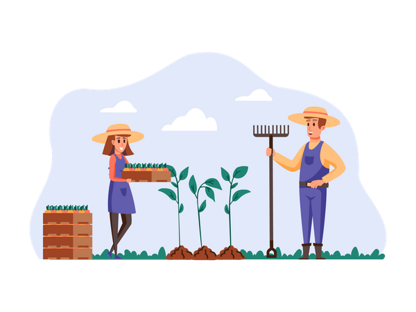 Woman planting crops with help of husband Illustration