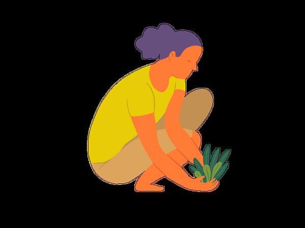 Woman planting tree Illustration