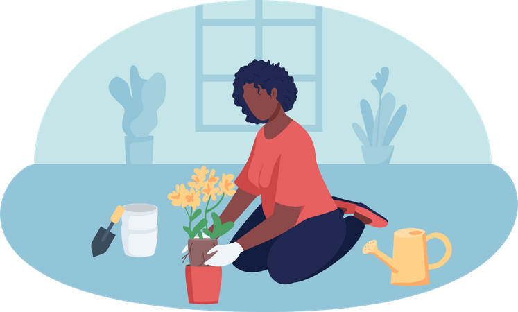 Woman planting tree in house Illustration