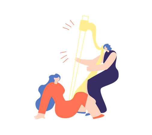 Woman playing harp Illustration