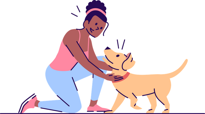 Woman playing with dog Illustration