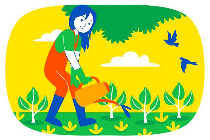 Woman pouring water to plant Illustration