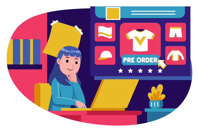 Woman preordering clothes from online shopping Illustration