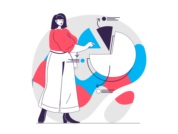 Woman presenting and analyzing diagram Illustration