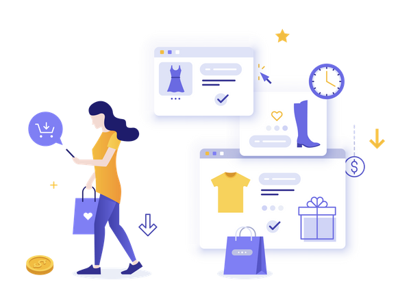Woman purchasing clothes online Illustration