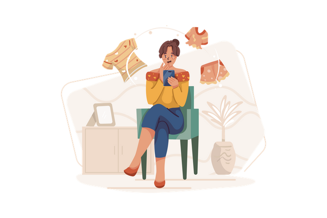 Woman Purchasing Online clothes Illustration