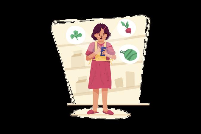 Woman Purchasing Online vegetables Illustration