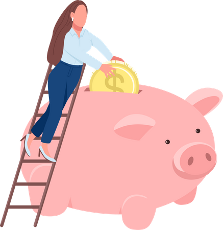 Woman putting coin in piggy bank Illustration