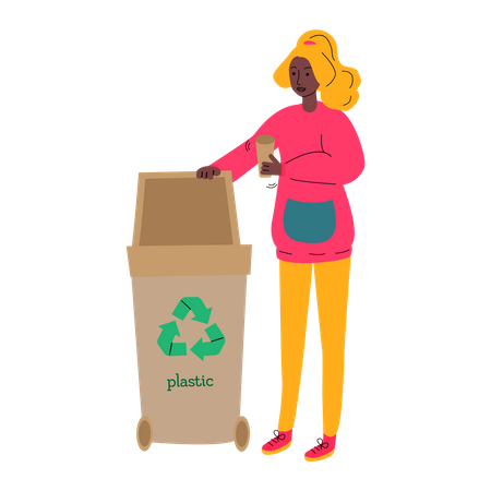 Woman putting plastic cup in recycling bin Illustration
