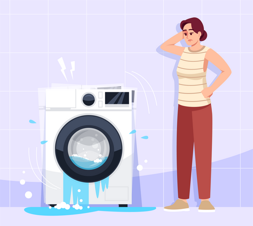 Woman puzzled by appliance breakdown Illustration