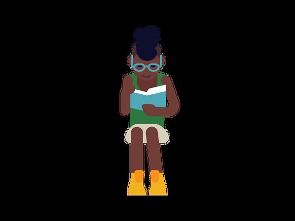 Woman reading article Illustration