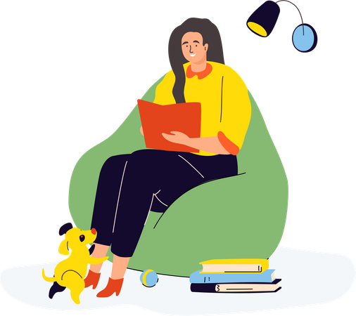 Woman reading at home Illustration