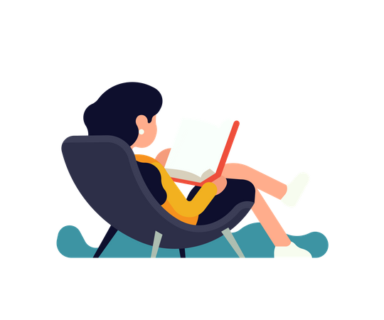 Woman reading book Illustration