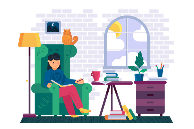 Woman reading book in house Illustration