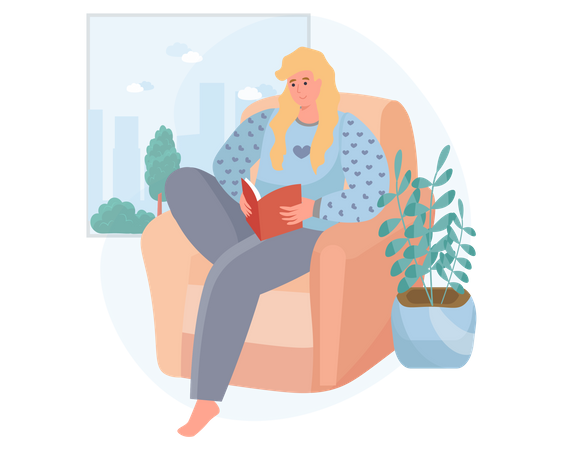 Woman reading book on sofa Illustration