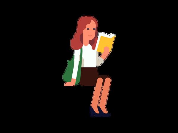 Woman reading business magazine Illustration
