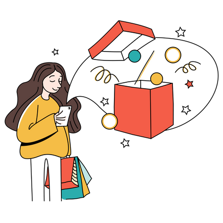 Woman received cashback from shopping payment Illustration