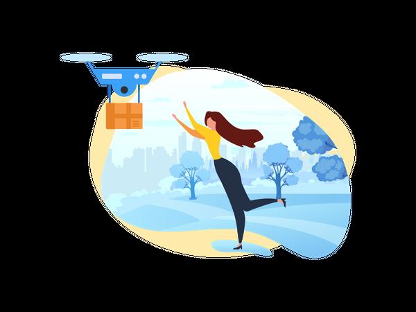 Woman Recieve Parcel through Fast Dron Devivery Illustration