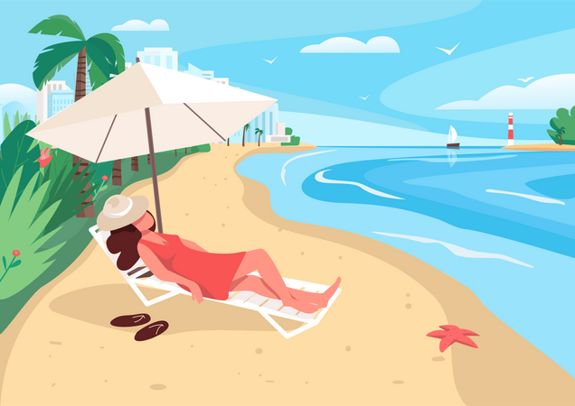 Woman relaxing at sandy beach Illustration