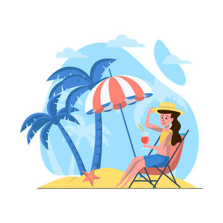 Woman relaxing on beach Illustration
