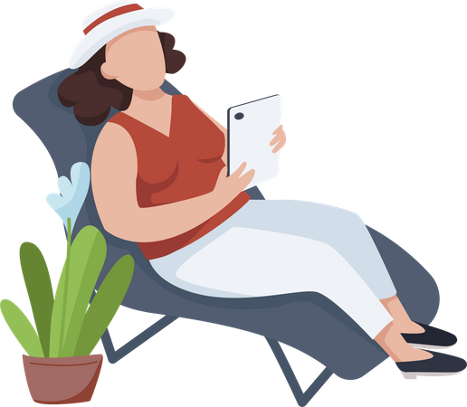 Woman relaxing on chair Illustration
