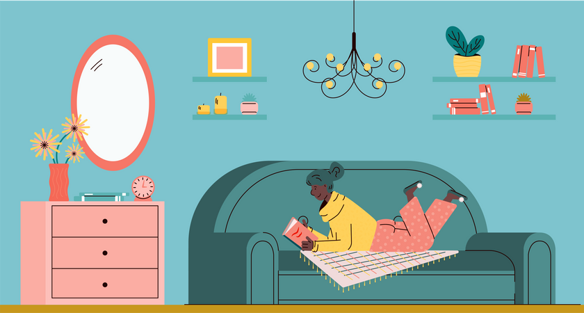 Woman resting on sofa and reading book at living room Illustration