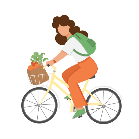 Woman riding bicycle with vegetables Illustration