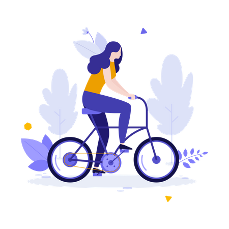 Woman riding Cycle Illustration