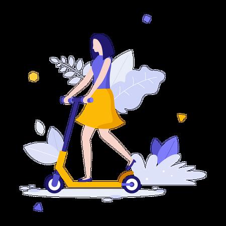 Woman riding kick scooter Illustration