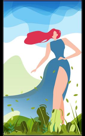 Woman roaming in garden Illustration