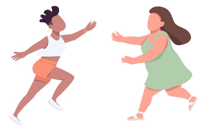 Woman run to hug Illustration