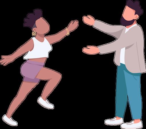 Woman run to hug man Illustration
