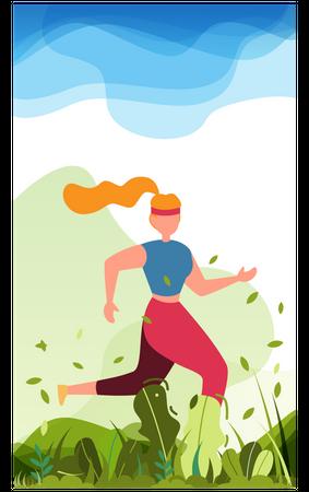 Woman running in park Illustration