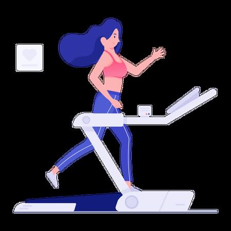 Woman running on treadmill Illustration