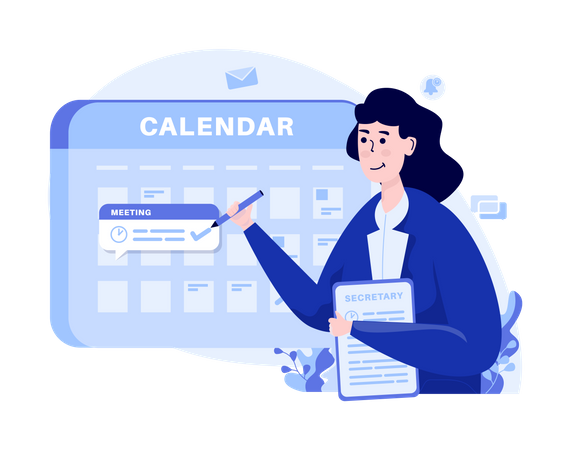 Woman schedules an appointment meeting Illustration