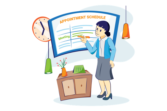 Woman scheduling appointment meeting Illustration