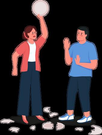 Woman scolding husband Illustration