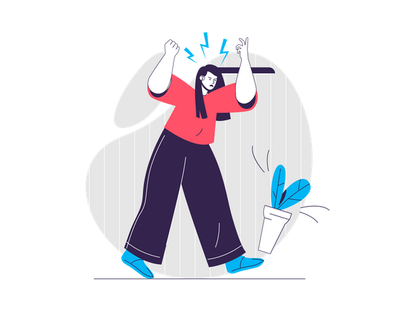 Woman screaming Illustration